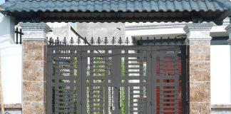 Mẫu cổng sắt 4 cánh đơn giản đẹp 35