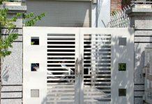 Cổng rào sắt hộp đơn giản cho nhà phố