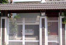 Cổng sắt nhà ống 1 cổng chính và 1 cổng phụ