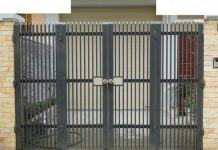 Mẫu cổng rào sắt 4 cánh đơn giản