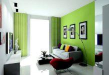 phòng đẹp nhờ rèm cửa màu xanh lá cây