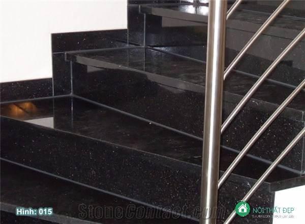 Lát đá hoa cương kim sa cầu thang cho nhà có thiết kế hiện đại