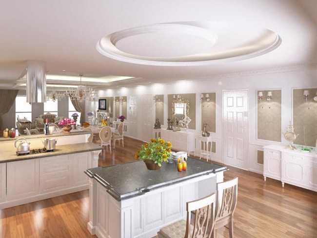trần thạch cao nhà bếp đẹp