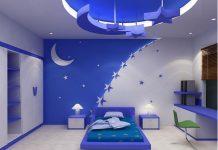 trần thạch cao màu xanh biển cho trẻ em