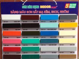 Bảng màu sơn sắt mạ kẽm Decor Paint