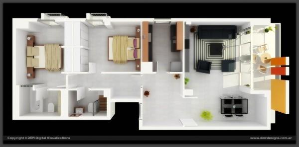 Mẫu 3 - Nhà cáp 4 đơn giản 2 phòng ngủ