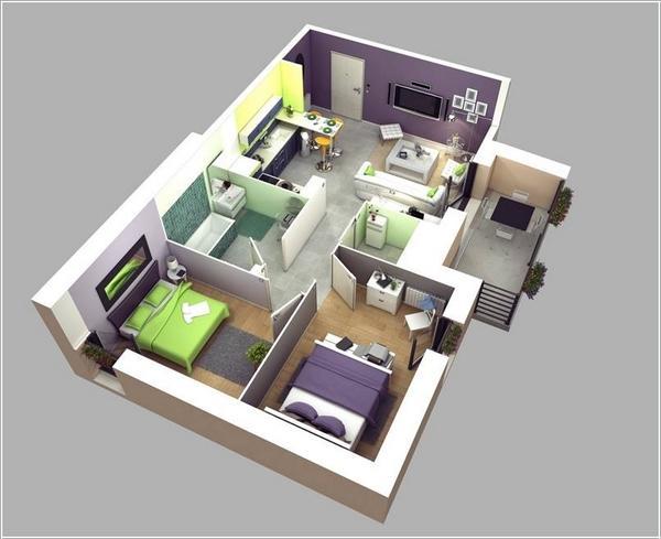 Mẫu 2 - Nhà cáp 4 đơn giản 2 phòng ngủ