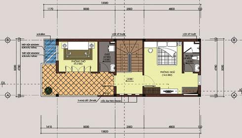 Mặt bằng tầng 3 - Mẫu thiết kế nhà diện tích 80m2
