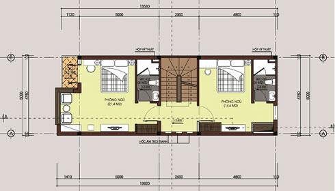 Mặt bằng tầng 2 - Mẫu thiết kế nhà diện tích 80m2