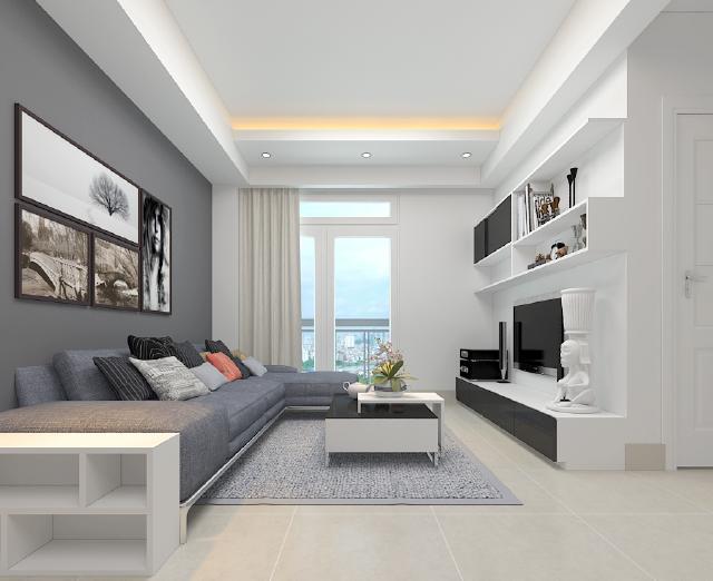 Kết hợp màu sắc hài hòa, cùng với nội thất phù hợp giúp không gian phòng khách trở nên rộng rãi.