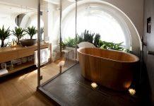 trang trí nhà tắm bằng đồ gỗ