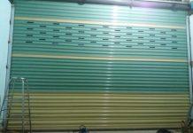 Cửa cuốn Đài Loan hoàn thiện 2 màu phối hợp, đục lỗ gió mẫu rất đẹp