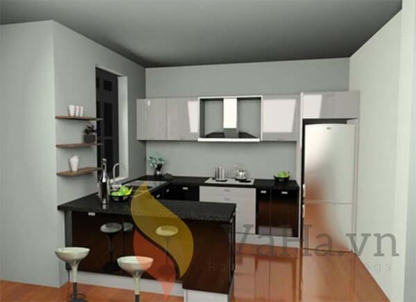 nhà bếp thiết kế kiểu bàn ăn gắn liền với tủ bếp