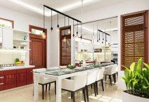 bếp và phòng ăn thiết kế ghế gọn gàng