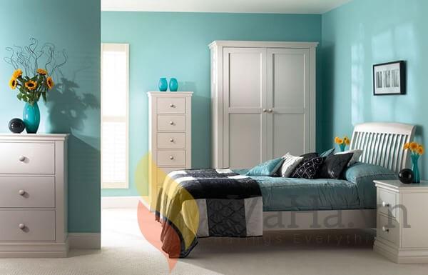 Căn phòng ngủ màu xanh bạc hà tươi mát