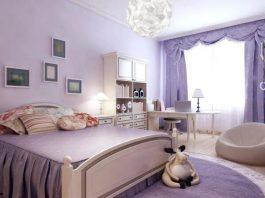 Một gian phòng sơn màu tím lavender