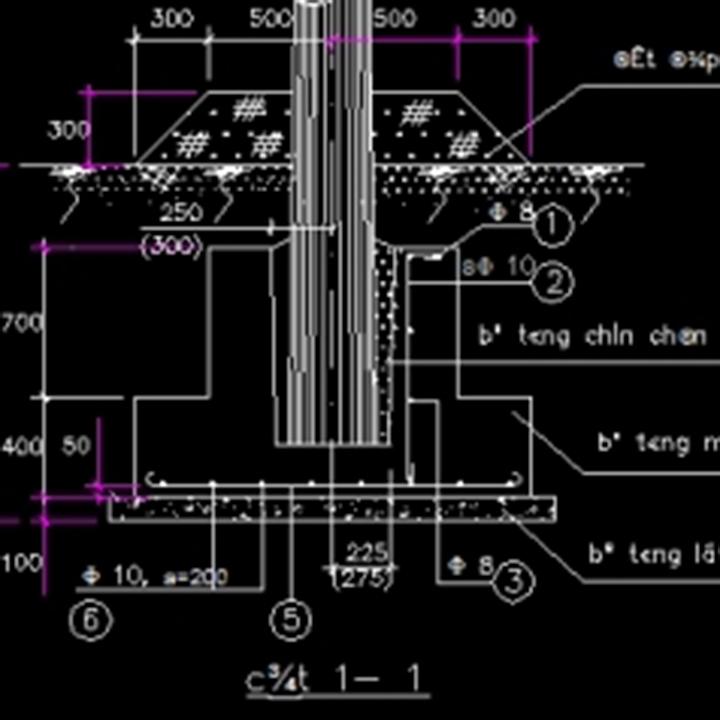 Bản vẽ CAD móng cột điện trạm biến áp